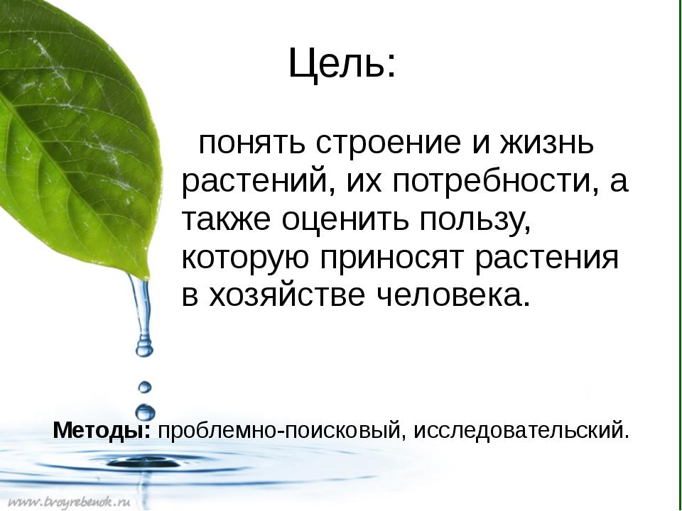 Цель: понять строение и жизнь растений, их потребности, а также оценить польз...