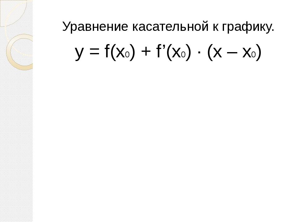 Уравнение касательной к графику. y = f(x0) + f'(x0) ∙ (x – x0)