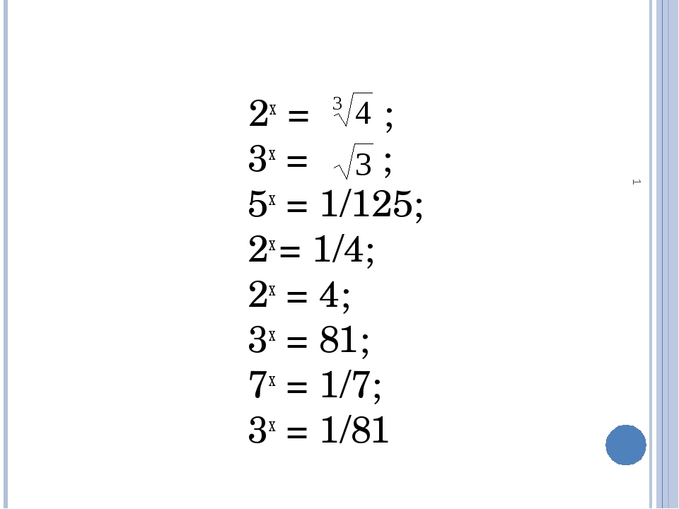 * 2х = ; 3х = ; 5х = 1/125; 2х = 1/4; 2х = 4; 3х = 81; 7х = 1/7; 3х = 1/81