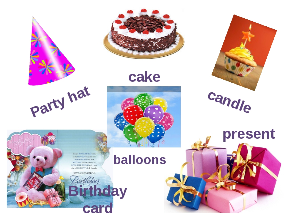 Party hat cake candle present Birthday card balloons