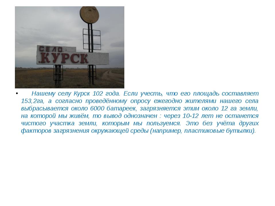 Нашему селу Курск 102 года. Если учесть, что его площадь составляет 153,2га,...