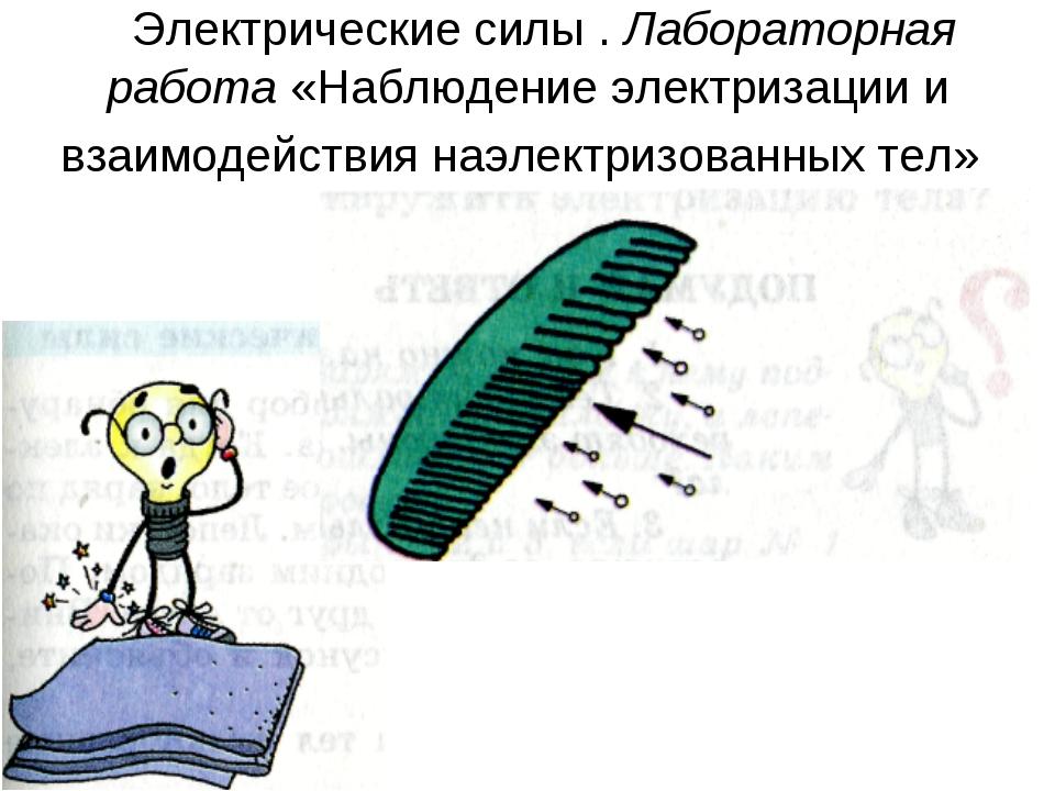 Электрические силы . Лабораторная работа «Наблюдение электризации и взаимоде...