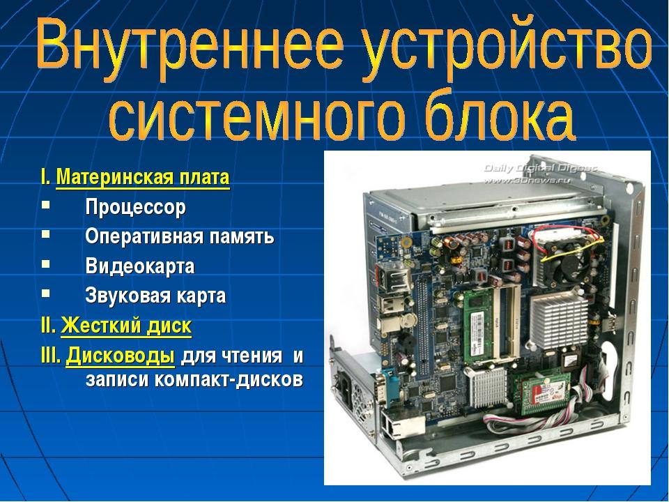 * I. Материнская плата Процессор Оперативная память Видеокарта Звуковая карта...