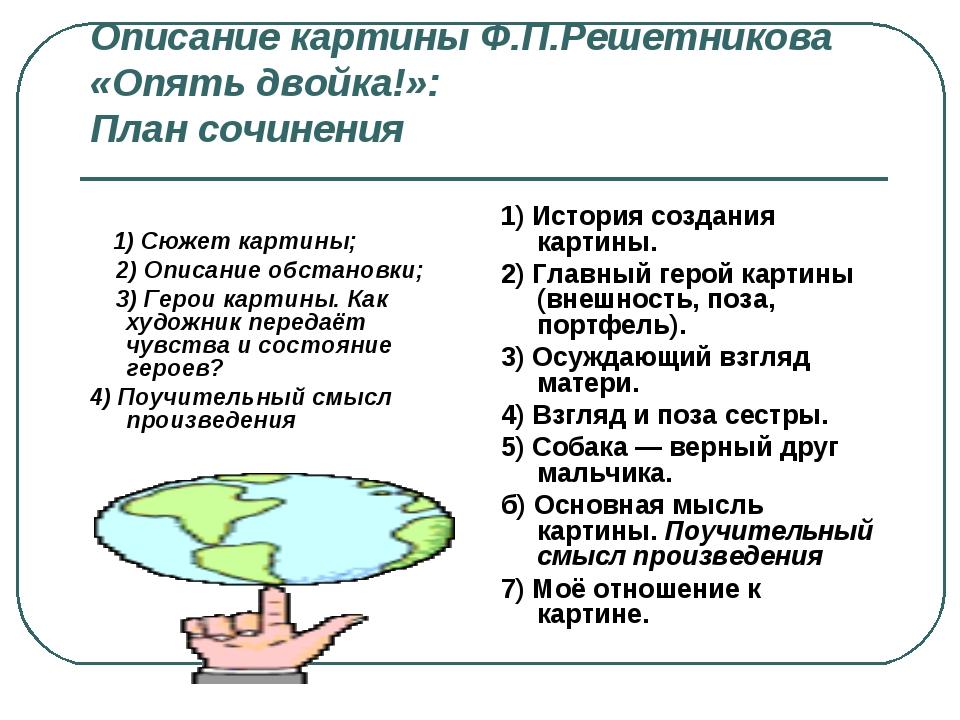 Описание картины Ф.П.Решетникова «Опять двойка!»: План сочинения 1) Сюжет кар...