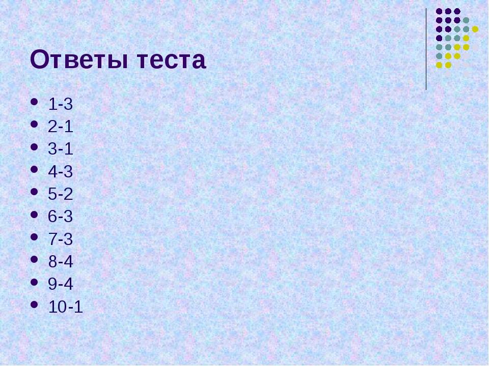 Ответы теста 1-3 2-1 3-1 4-3 5-2 6-3 7-3 8-4 9-4 10-1