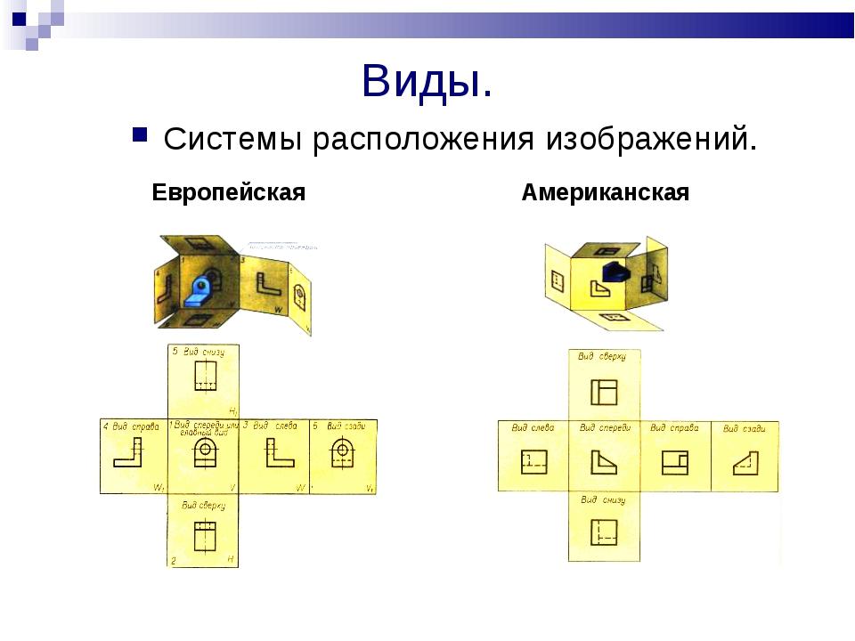 Виды. Системы расположения изображений. Европейская Американская