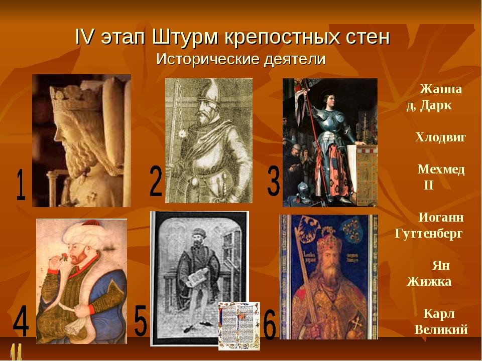 IV этап Штурм крепостных стен Исторические деятели Жанна д, Дарк Хлодвиг Мехм...