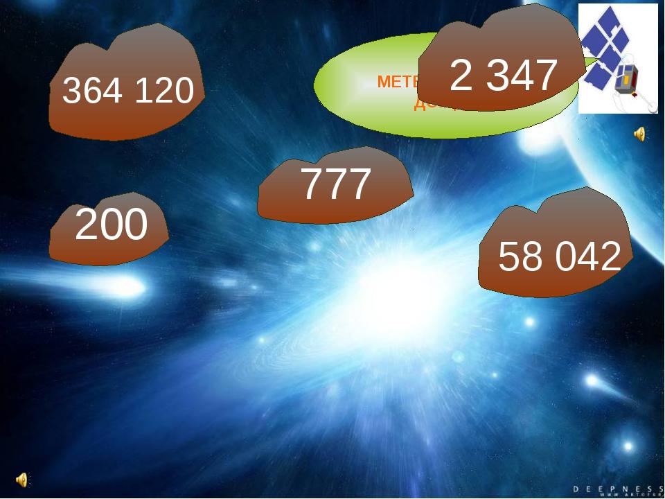 МЕТЕОРИТНЫЙ ДОЖДЬ 364 120 777 58 042 2 347 200
