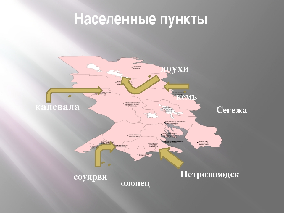 Населенные пункты Петрозаводск Сегежа лоухи калевала соуярви олонец кемь