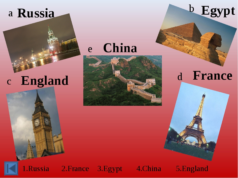 a b c d e 1.Russia 2.France 3.Egypt 4.China 5.England Russia France Egypt Chi...