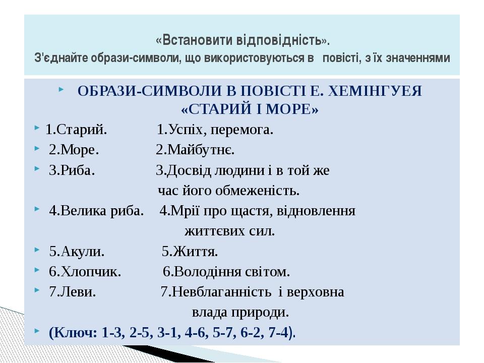 ОБРАЗИ-СИМВОЛИ В ПОВІСТІ Е. ХЕМІНГУЕЯ «СТАРИЙ І МОРЕ» 1.Старий. 1.Успіх, пере...