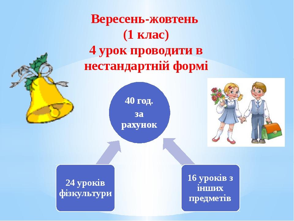 Вересень-жовтень (1 клас) 4 урок проводити в нестандартній формі