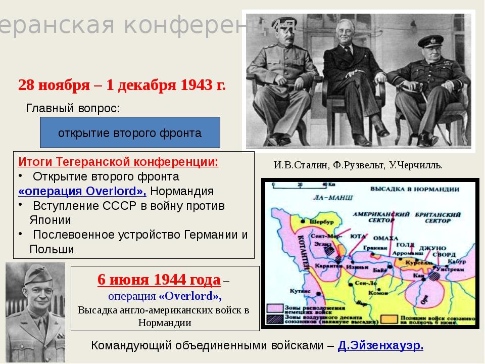 Тегеранская конференция открытие второго фронта И.В.Сталин, Ф.Рузвельт, У.Чер...