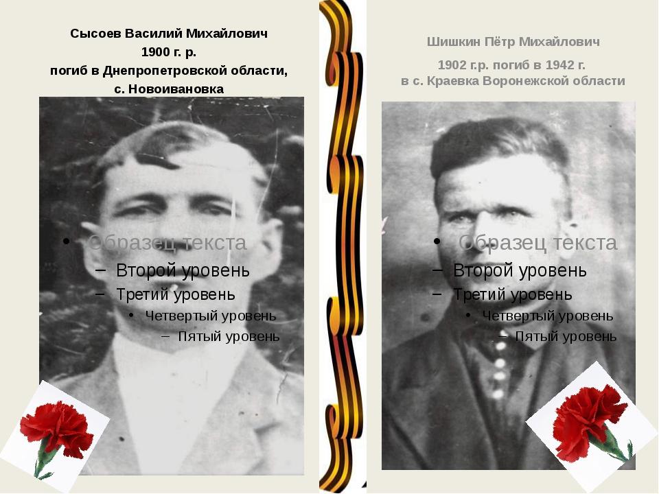 Сысоев Василий Михайлович 1900 г. р. погиб в Днепропетровской области, с. Но...