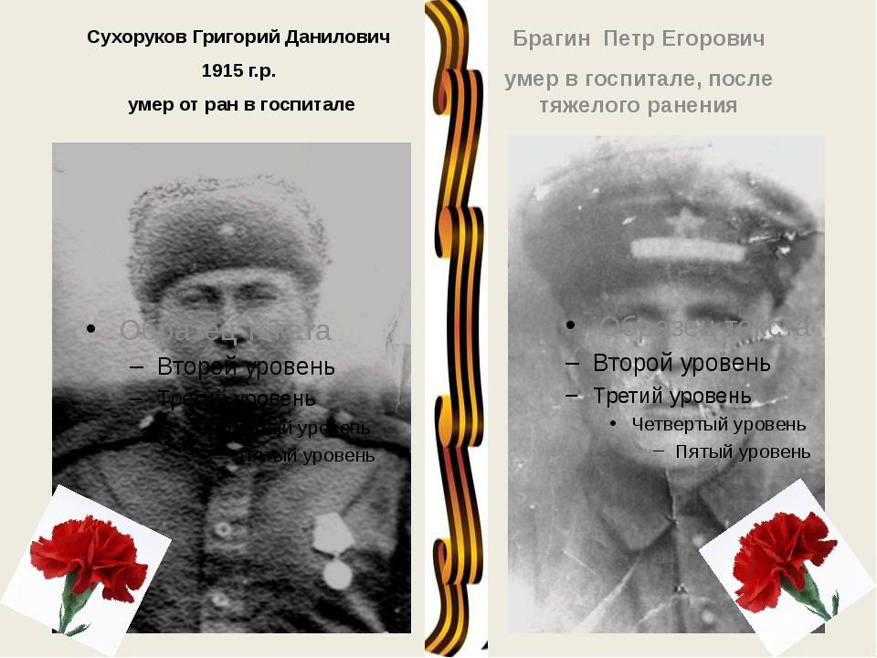Сухоруков Григорий Данилович 1915 г.р. умер от ран в госпитале Брагин Петр Ег...