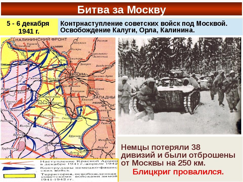 Битва за Москву Немцы потеряли 38 дивизий и были отброшены от Москвы на 250 к...