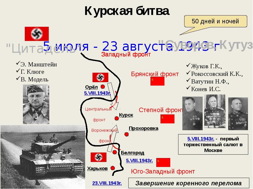 Курская битва 5 июля - 23 августа 1943 г 50 дней и ночей Э. Манштейн Г. Клюге...