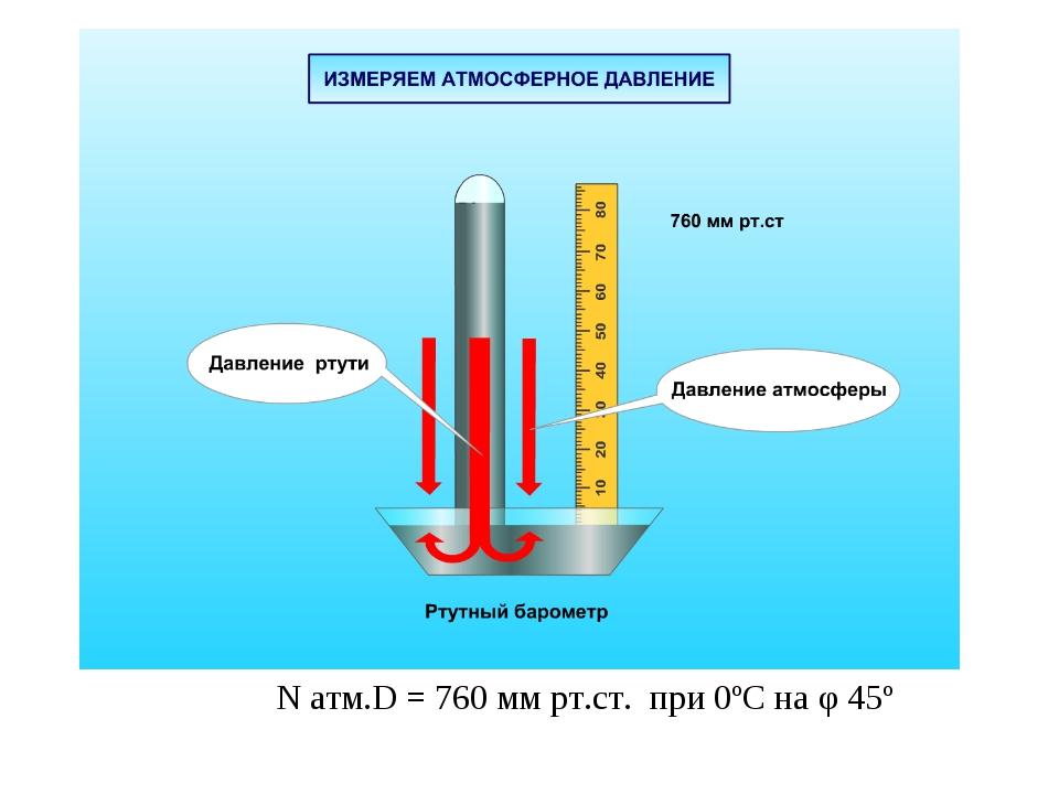 N атм.D = 760 мм рт.ст. при 0ºС на φ 45º