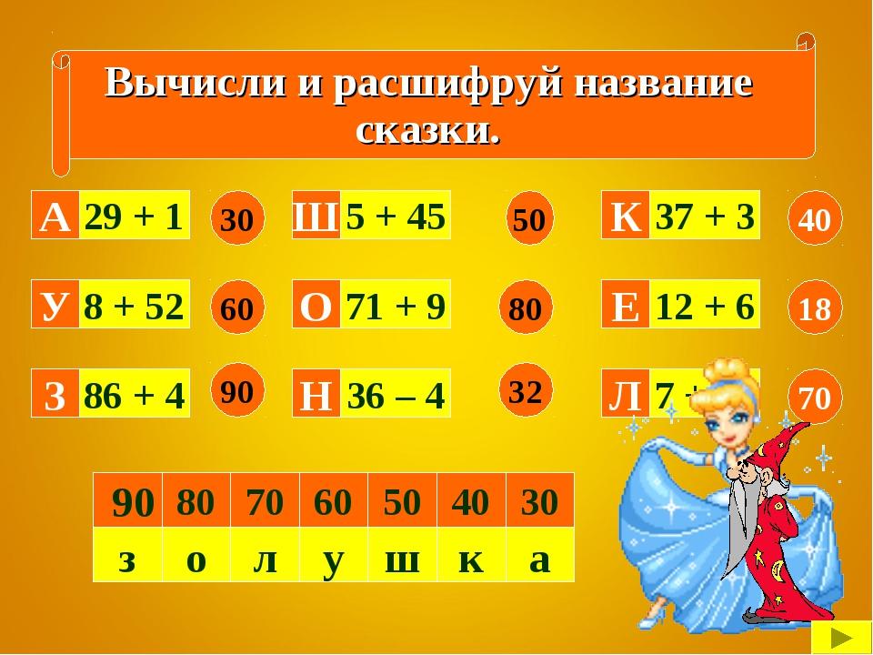 Вычисли и расшифруй название сказки. 29 + 1 8 + 52 86 + 4 36 – 4 71 + 9 5 + 4...
