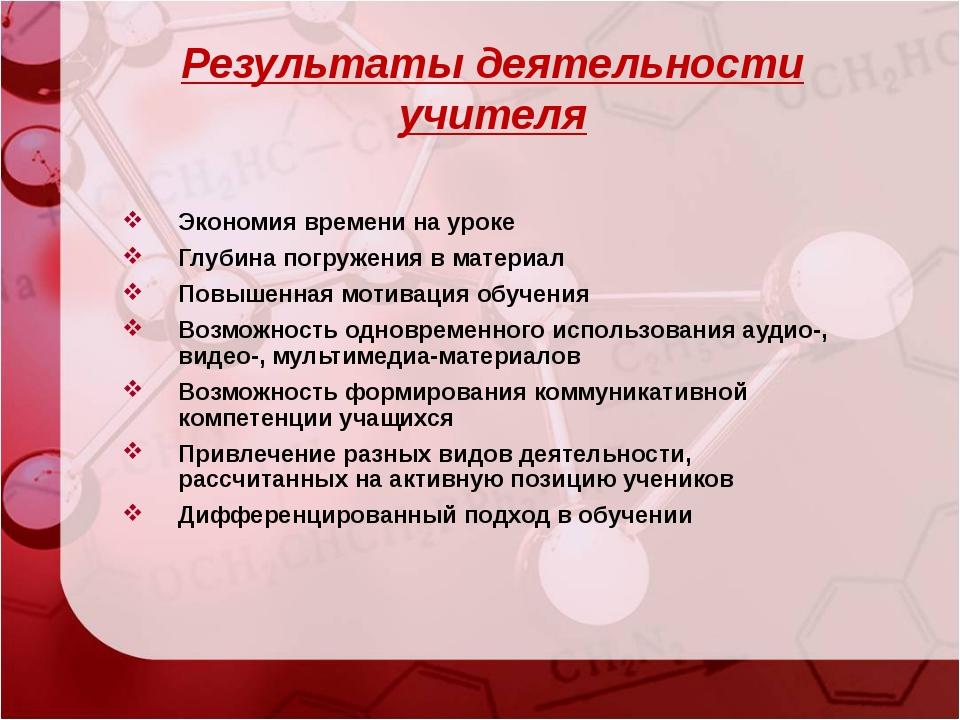 Результаты деятельности учителя Экономия времени на уроке Глубина погружения...