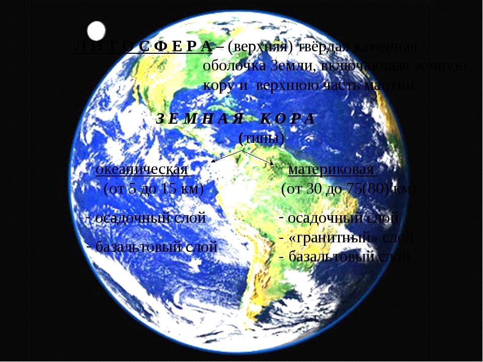 Л И Т О С Ф Е Р А – (верхняя) твёрдая каменная оболочка Земли, включающая зем...