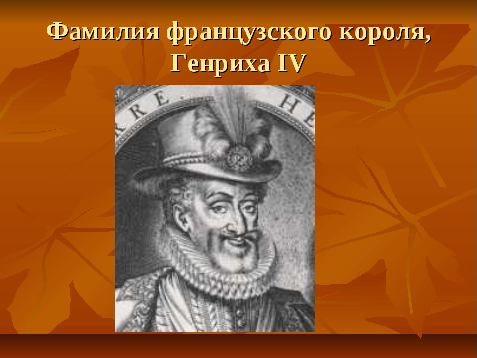 Фамилия французского короля, Генриха IV