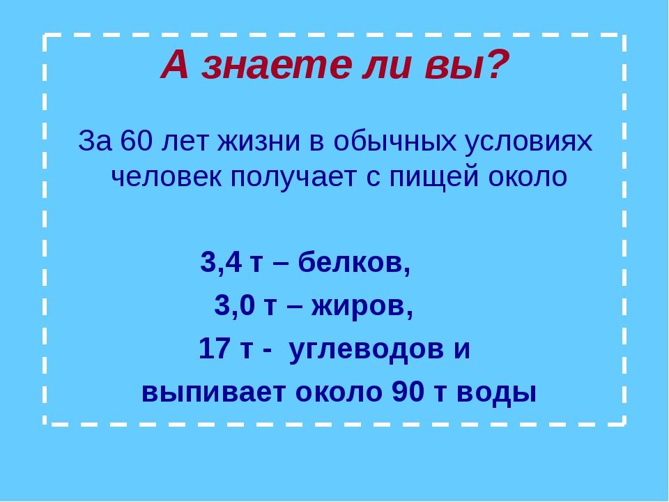 А знаете ли вы? За 60 лет жизни в обычных условиях человек получает с пищей о...