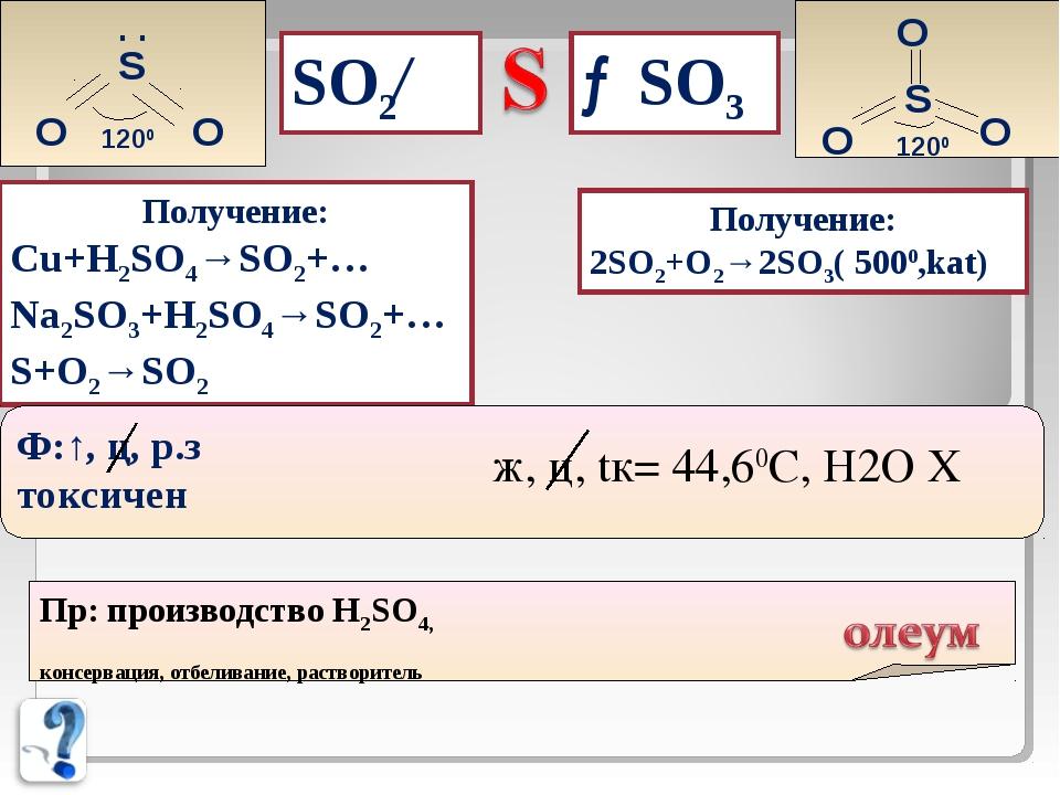 →SO3 SO2← S . . O O 1200 S O O O 1200 Получение: Cu+H2SO4→SO2+… Na2SO3+H2SO4→...
