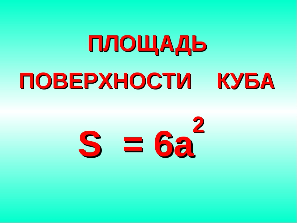 ПЛОЩАДЬ ПОВЕРХНОСТИ КУБА S = 6a 2
