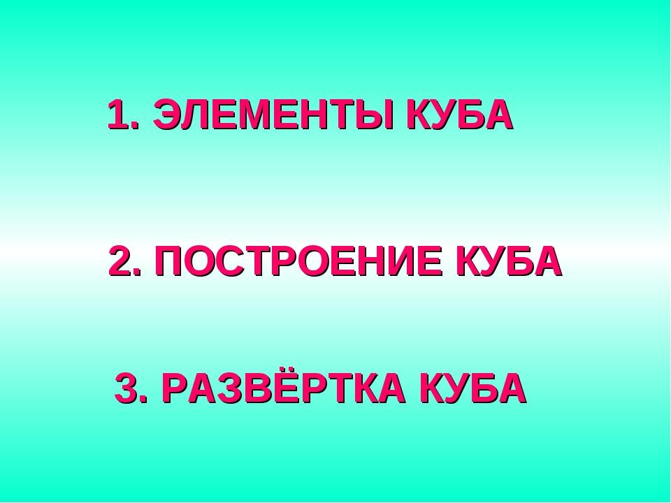 ЭЛЕМЕНТЫ КУБА 2. ПОСТРОЕНИЕ КУБА 3. РАЗВЁРТКА КУБА