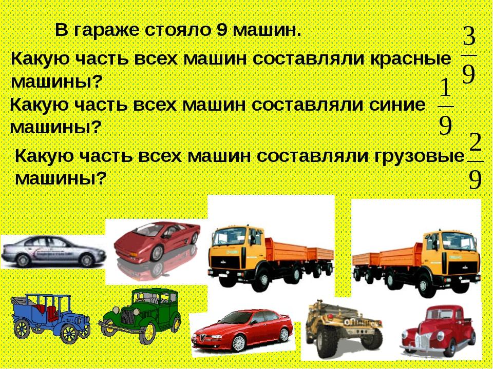 В гараже стояло 9 машин. Какую часть всех машин составляли красные машины? К...