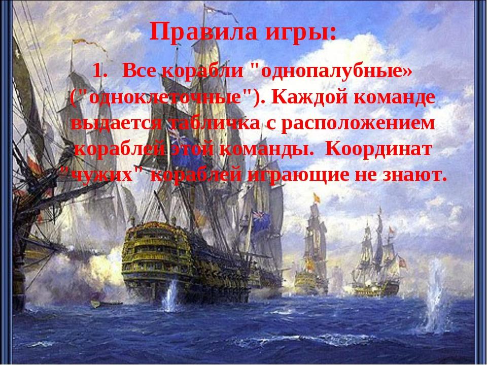 """Правила игры: 1.Все корабли """"однопалубные» (""""одноклеточные""""). Каждой команде..."""
