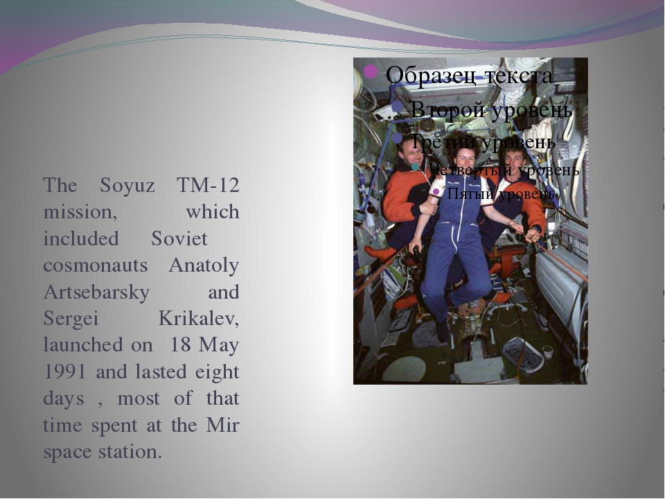 The Soyuz TM-12 mission, which included Soviet cosmonauts Anatoly Artsebarsk...