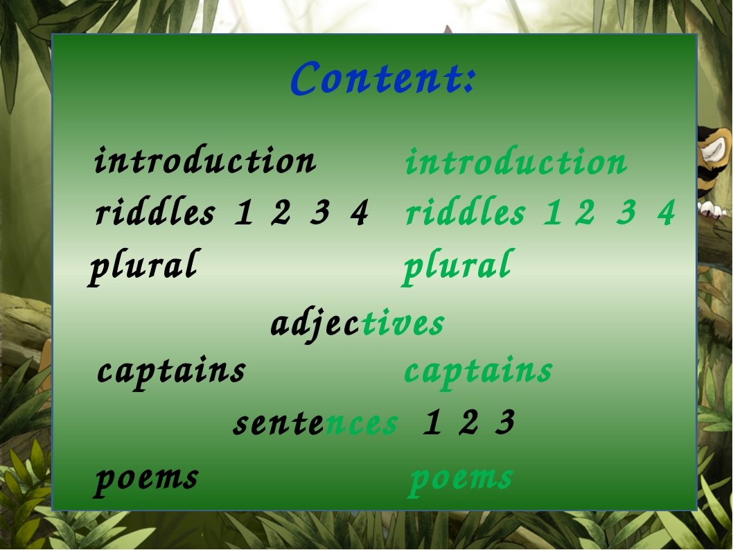 Content: introduction introduction riddles riddles plural plural adjectives