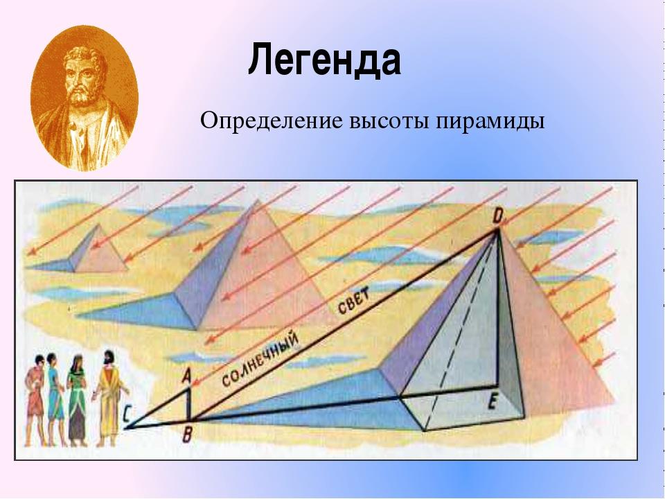 Легенда Определение высоты пирамиды