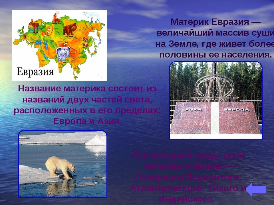 Название материка состоит из названий двух частей света, расположенных в его...