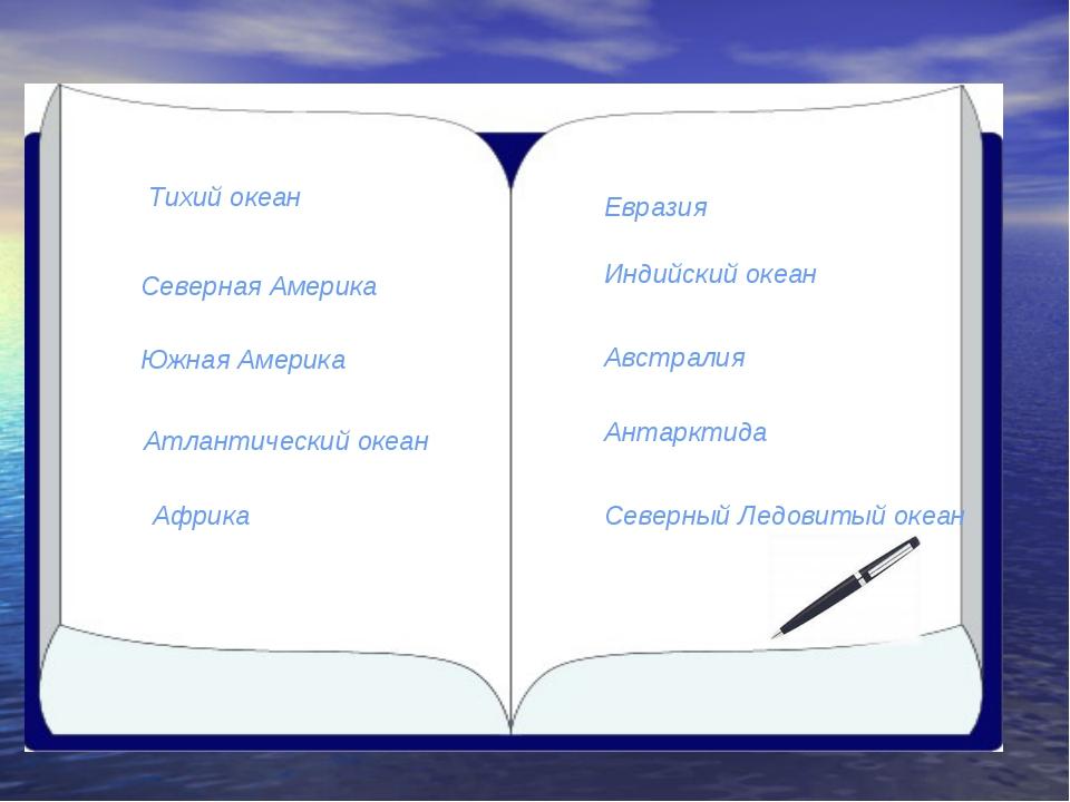 Северная Америка Южная Америка Тихий океан Атлантический океан Африка Евразия...