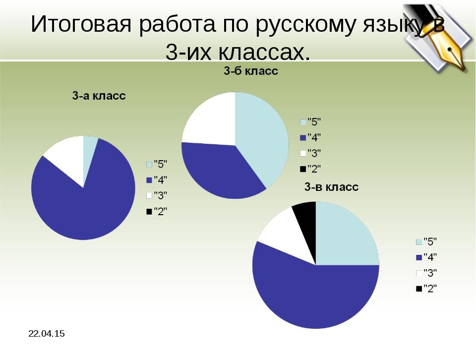 Итоговая работа по русскому языку в 3-их классах. *