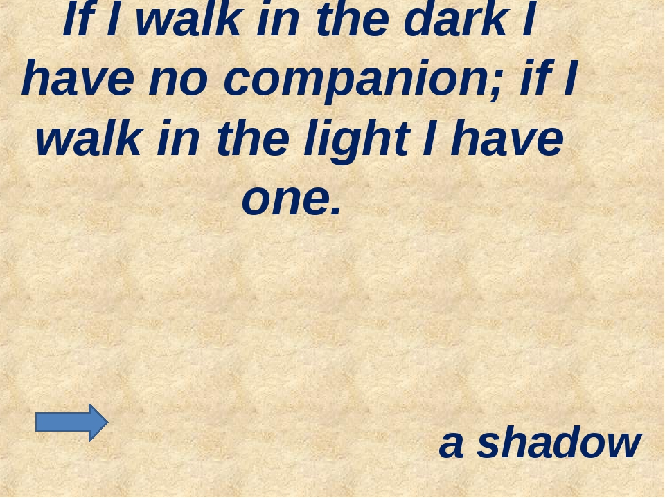 If I walk in the dark I have no companion; if I walk in the light I have one....