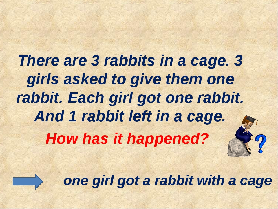 There are 3 rabbits in a cage. 3 girls asked to give them one rabbit. Each g