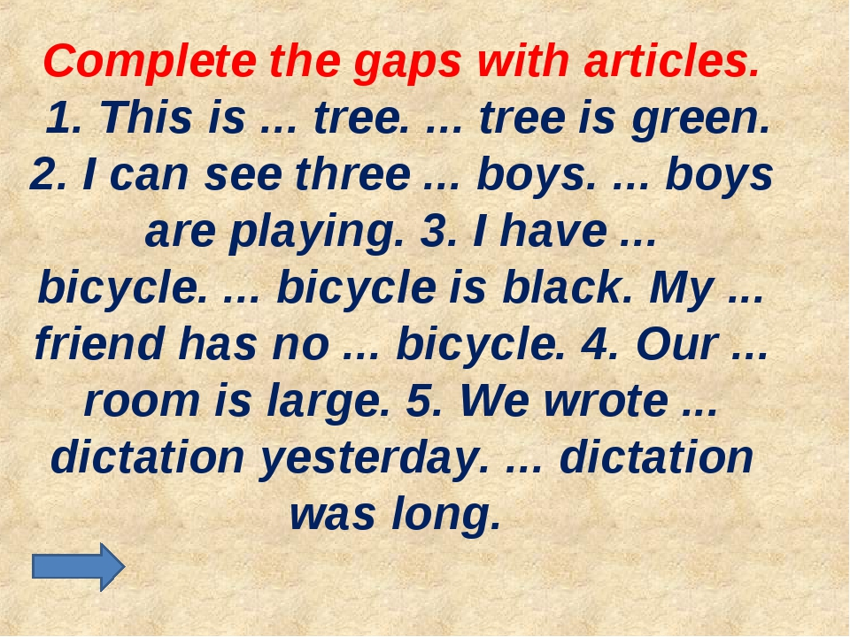Complete the gaps with articles. 1. This is ... tree. ... tree is green. 2. I