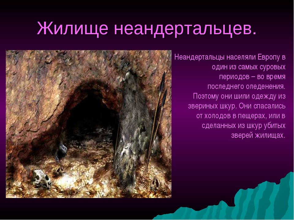 Жилище неандертальцев. Неандертальцы населяли Европу в один из самых суровых...