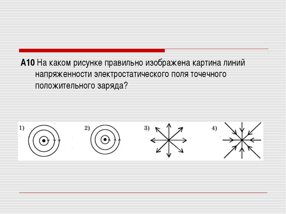 А10 На каком рисунке правильно изображена картина линий напряженности электро...