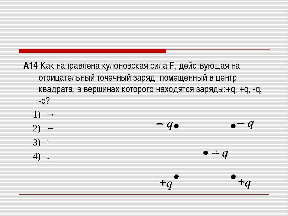 А14 Как направлена кулоновская сила F, действующая на отрицательный точечный...