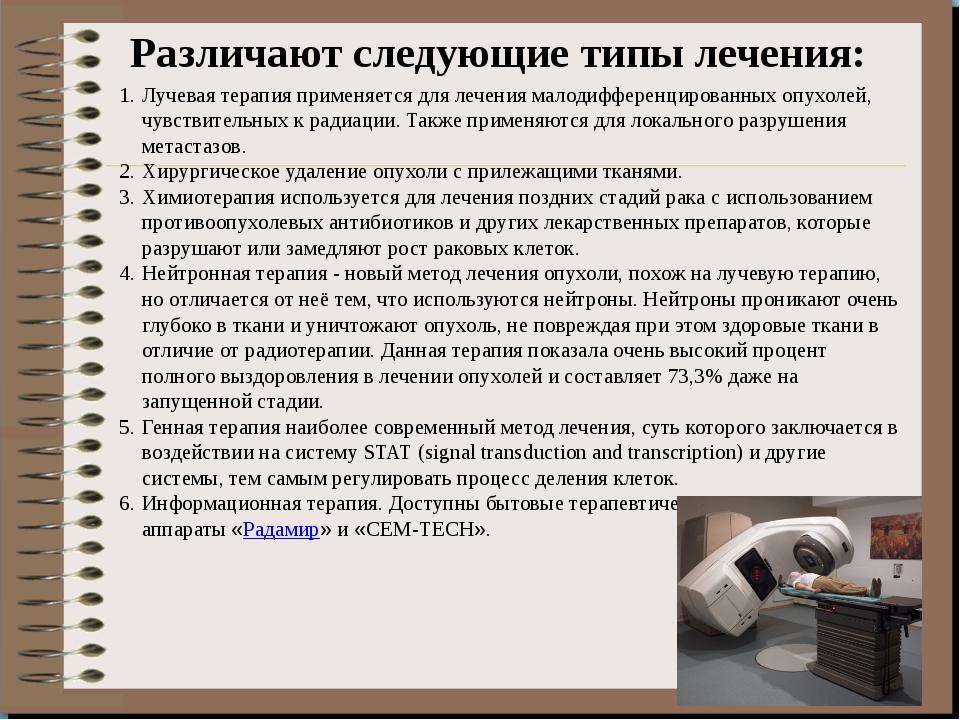 Различают следующие типы лечения: Лучевая терапия применяется для лечения ма...