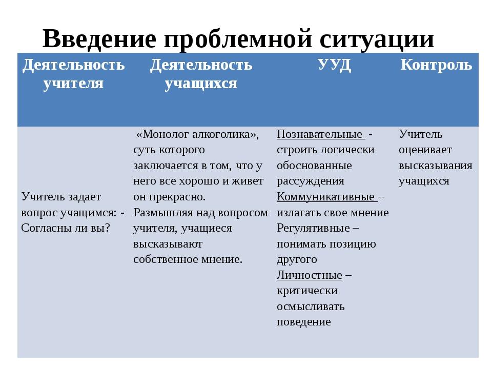 Введение проблемной ситуации Деятельность учителя Деятельность учащихся УУД К...