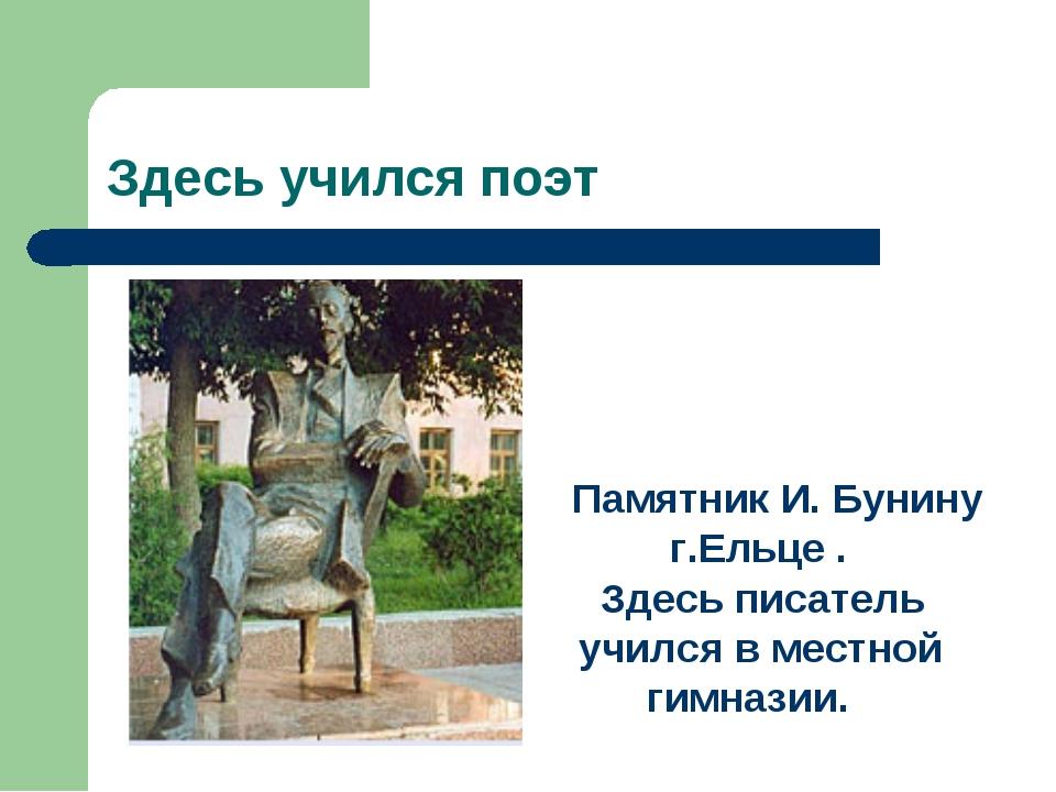 Здесь учился поэт Памятник И. Бунину г.Ельце . Здесь писатель учился в местно...