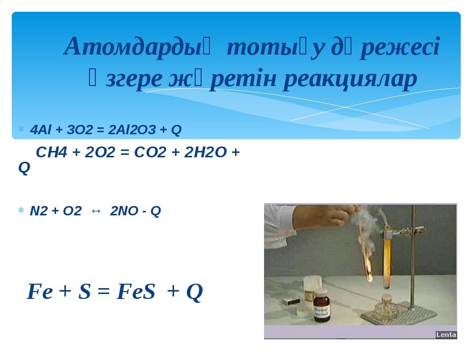 4Al + 3O2 = 2Al2O3 + Q CH4 + 2O2 = CO2 + 2H2O + Q N2 + O2 ↔ 2NO - Q Fe + S =...