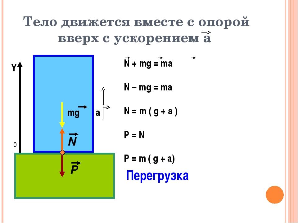 Тело движется вместе с опорой вверх с ускорением а 0 Y Перегрузка mg а N P N...