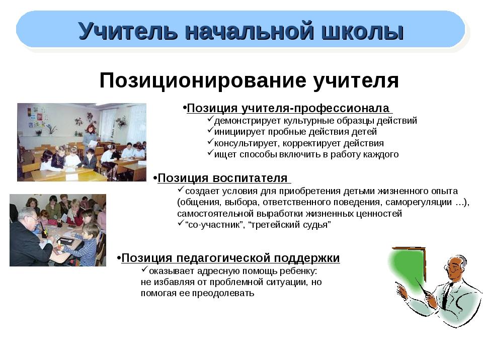 Учитель начальной школы Позиционирование учителя Позиция учителя-профессионал...